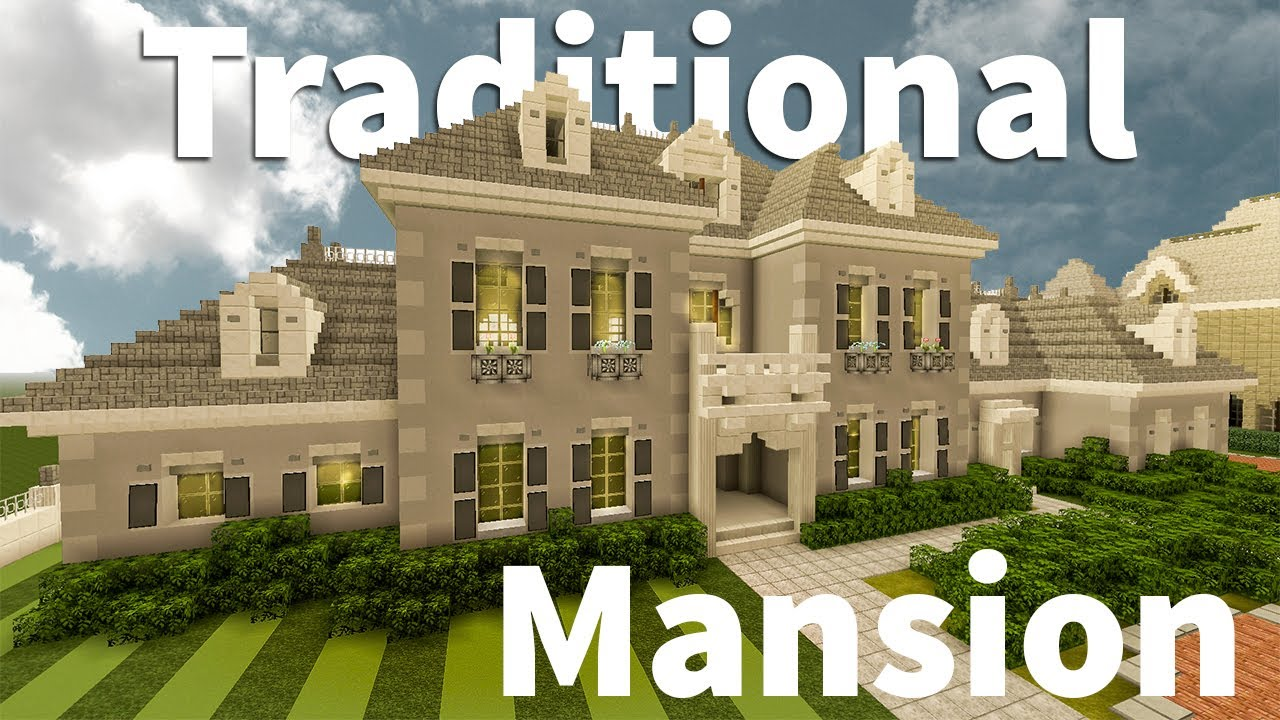 Modern Traditional Mansion Tour In Minecraft Youtube