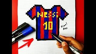 Как нарисовать по клеточкам Футболку Месси Барселона. PIXEL ART MUAZ CREATIVE