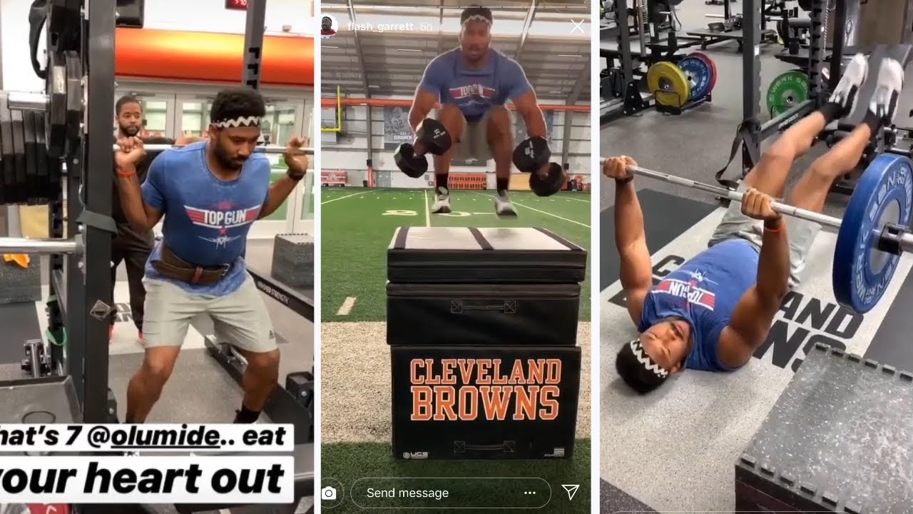 Cleveland Browns Myles Garrett Squats 675 Does Box Jumps With Dumbbells Elite Athlete Youtube