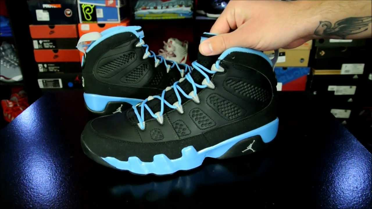 d77e25d565f4ad Air Jordan IX (9) Retro  Slim Jenkins  Black  University Blue 2012 - YouTube