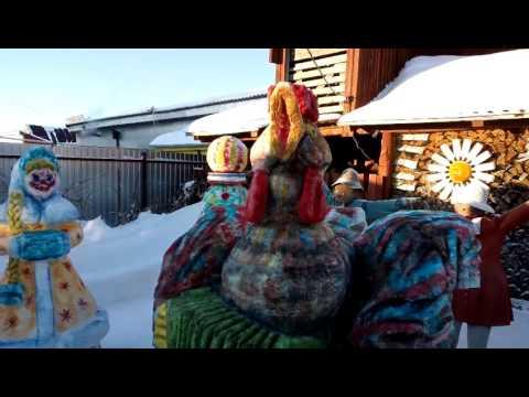 Новогодние фигуры из снега 2017 год (год Петуха)