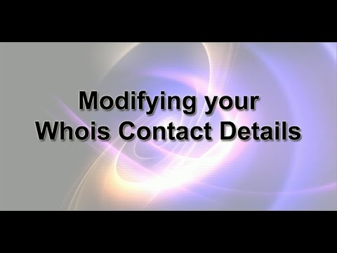 Modifying your Whois Contact Details