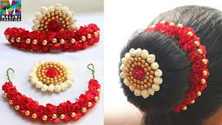 Beautiful red flowers hair accessory with brooch tutorial