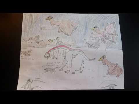 KT Extinction Event Drawing - Tyrannosaurus Rex, Quetzalcoatlus, Alphadon, Alamosaurus, Einiosaurus