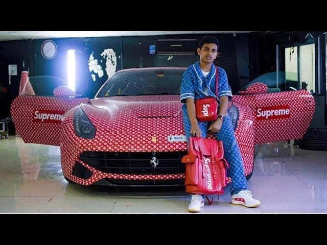 8caad7ebe4fe0 This 15-Year-Old Rich Kid From Dubai Just Got His Ferrari Wrapped in Louis  Vuitton Print