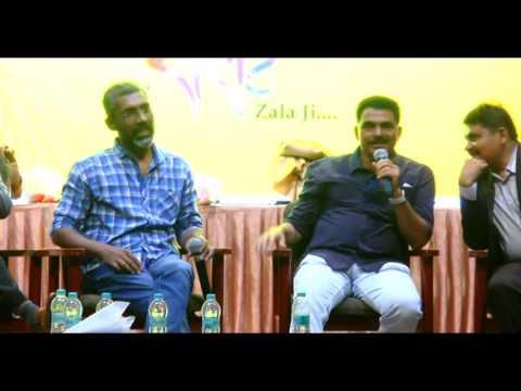 Sayaji Shinde interviewing Nagraj manjule in Sairat zaal Ji at Hyderabad
