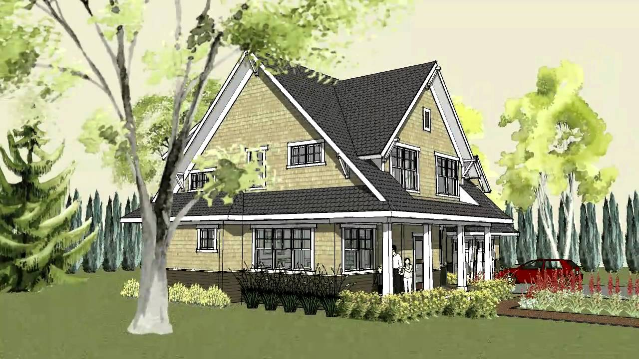 Simple craftsman home plan with cottage exterior and front for Craftsman home plans with porch