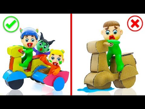 SUPERHERO BABY MAKES MOTORCYCLE WITH CARDBOARD 馃挅 Play Doh Cartoons For Kids