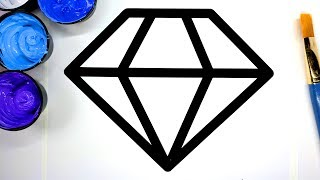 Painting Icy Diamond Painting Pages for Baby, Learn to Color with Paint