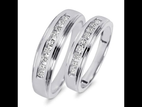 3/8-carat-t.w.-round-cut-diamond-his-and-hers-wedding-band-set-10k-white-gold