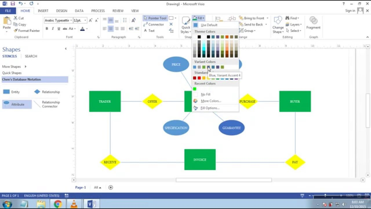 Cara Membuat Erd Entity Relationship Diagram Di Microsoft Visio  Youtube