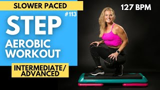 STEP Aerobics Intermediate to Advanced Slower Paced Workout 127 BPM