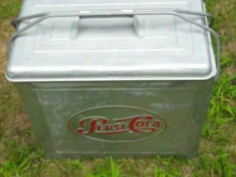 Aluminum 1950s Pepsi Cola cooler for sale!