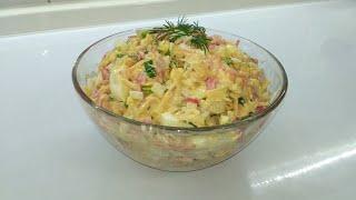 Очень вкусный, быстрый и сытный салат с крабовыми палочками и корейской морковью