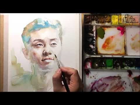 Watercolor Portrait painting  Korean actor Park Seo-joon / 인물수채화