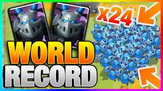 24 MEGA MINIONS! New World Record! Clash Royale - Most Mega Minion on Map (Mass Card Gameplay)