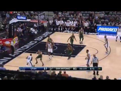 David West 14 Points 13 Rebounds Full Highlights Spurs vs Jazz (1.6.2016)