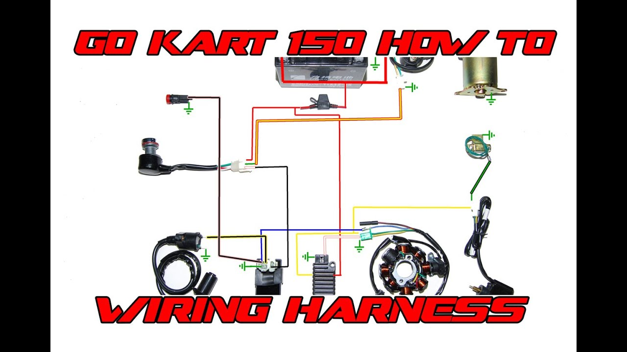 Go Kart 150 Basic Wiring Harness How To - YouTube | Gy6 Buggy Wiring Diagram |  | YouTube