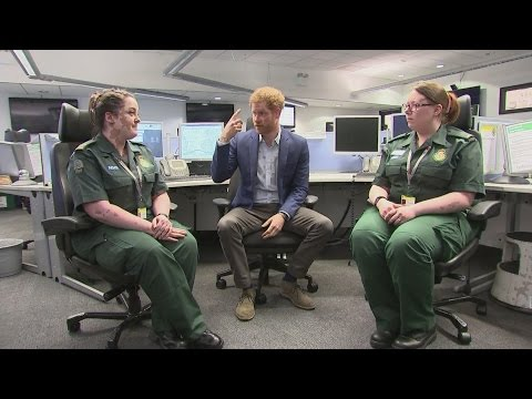 Prince Harry meets London's ambulance workers
