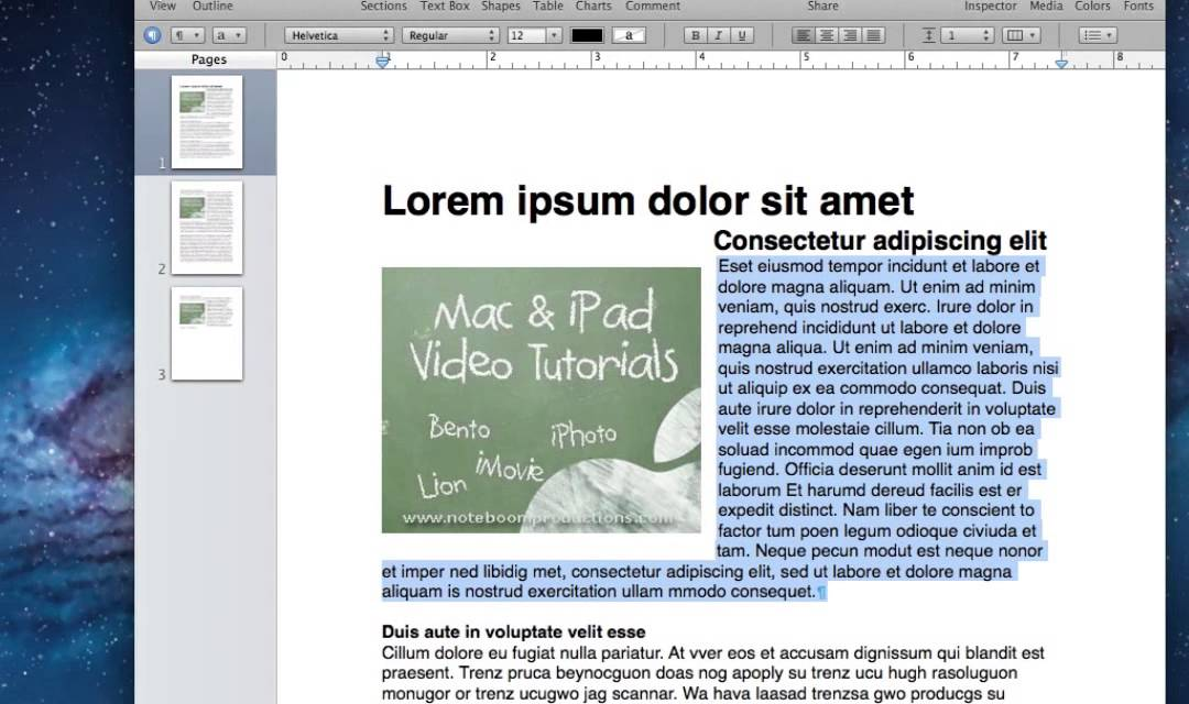 using master objects in pages from tutor for os x pages