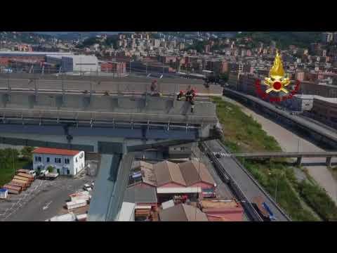 Aerials Of Firefighters Securing Genoa Bridge