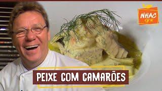 Peixe e Camarões com Molho de Cream Cheese