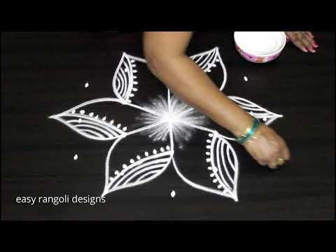 Beautiful n unique kolam designs with 5 dots || new easy rangoli  || simple n cute muggulu