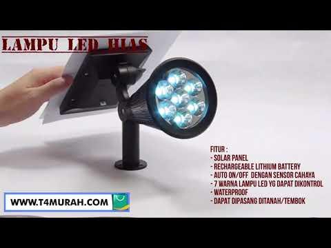 T4murah Com Lampu Sorot Taman Led Tenaga Surya 7 Warna Youtube