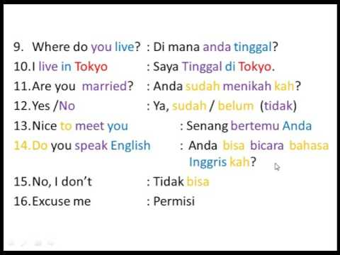 Indonesian For Beginners - Lesson 8