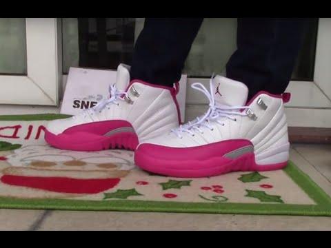 meet 947b9 4afaa Jordan 12 GS Dynamic Pink ON FOOT