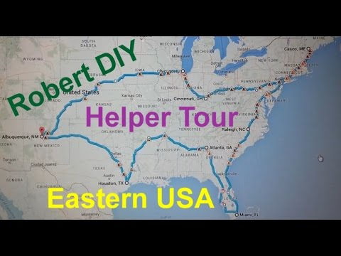 Robert DIY Eastern United States tour, eastern and central time zones.