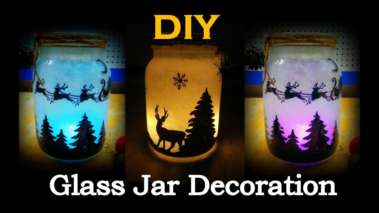 Diy Christmas Mason Jar Decoration Glass Jar Decoration Ideas Glass Bottle Decoration Ideas Youtube