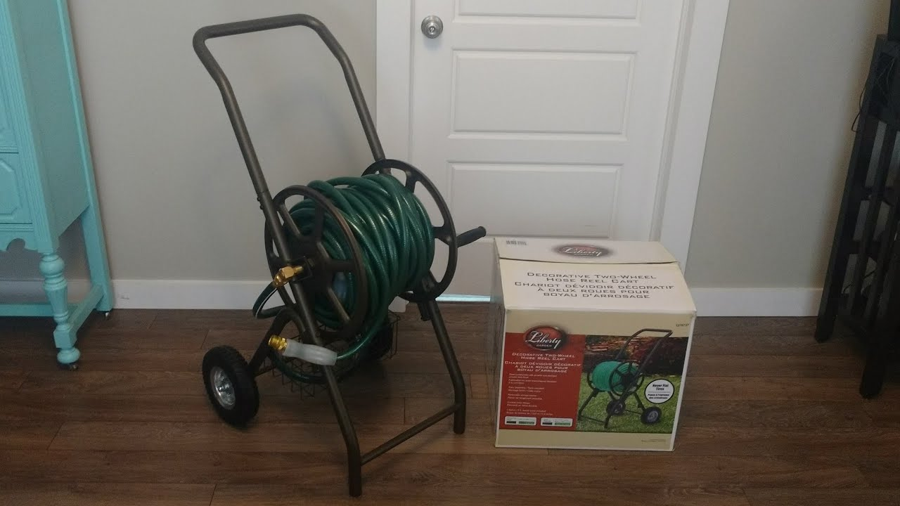 Liberty Garden Decorative Two Wheeled Hose Reel Cart From Costco Unboxing And Review Youtube
