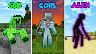 SUB vs CORL vs ALEX - MUTANTS! In Minecraft! (The Pals)