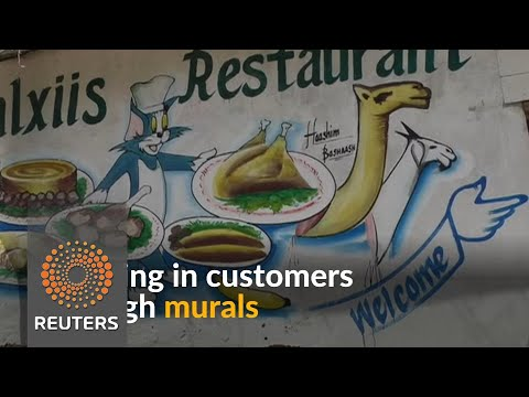 Somalian artist draws in customers with colorful murals