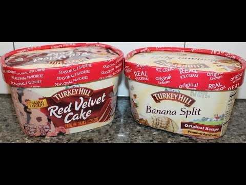 Turkey Hill: Red Velvet Cake Frozen Dairy Desset & Banana Split Ice Cream Review