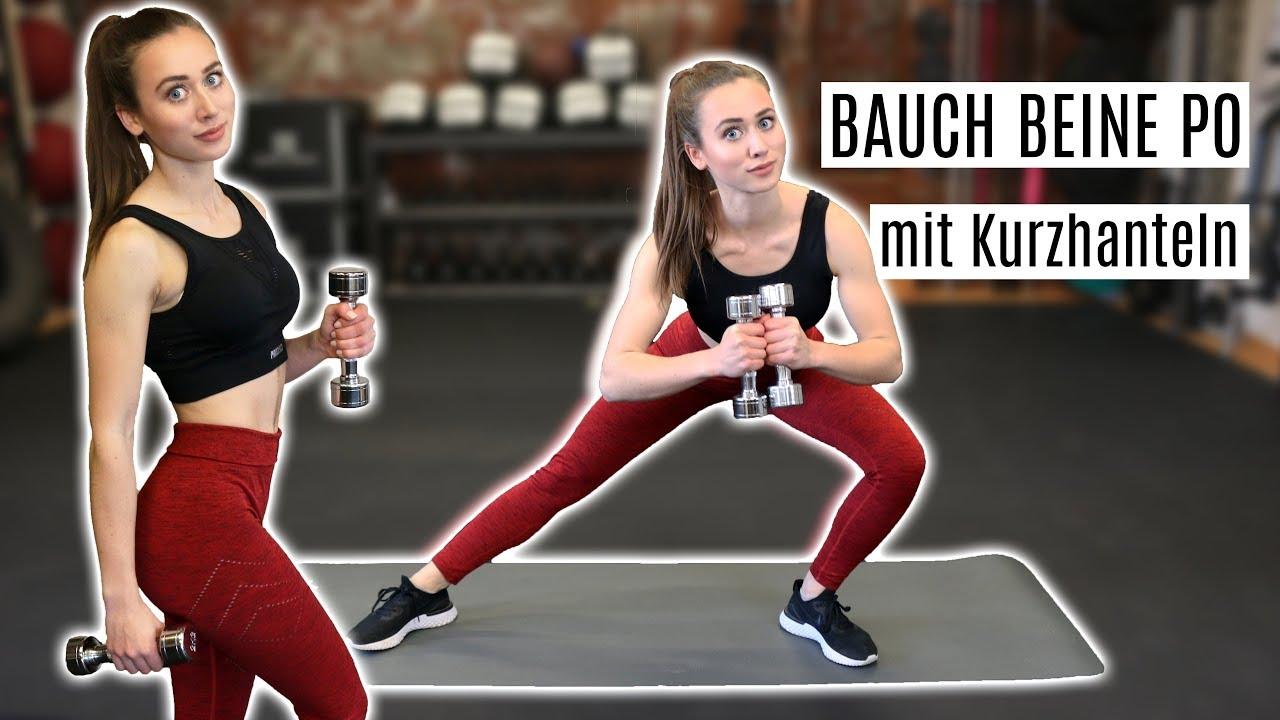20 Minuten Bauch Beine Po Workout mit Kurzhanteln   Effektives Homeworkout  für deine Sommerfigur
