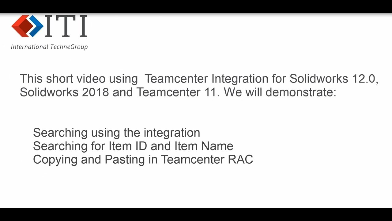 ITI - International TechneGroup | SOLIDWORKS Integration with Teamcenter