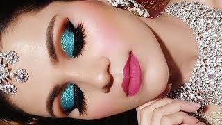 INDIAN Asian BRIDAL Makeup Tutorial In HINDI Full Coverage Waterproof Makeup  Green Glittery Eyes