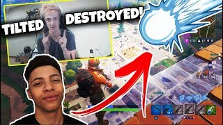 NINJA AND MYTH *REACT* TO TILTED TOWERS REMOVED/DESTROYED BY METEORS! FORTNITE BATTLE ROYALE!!