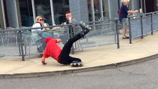 Public Pranks: THE FALLING ROLLERBLADER!