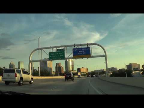 Driving through Downtown Tampa, FL on Interstate 4 West/Interstate 275 South