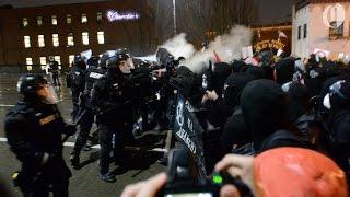 Portland police pepper spray protesters on Burnside Bridge