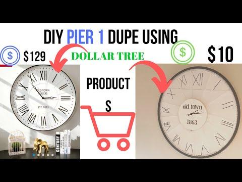 DOLLAR TREE DIY // PIER 1 DUPE// PIER 1 INSPIRED DECOR // BUDGET FRIENDLY DIY// FARMHOUSE CLOCK