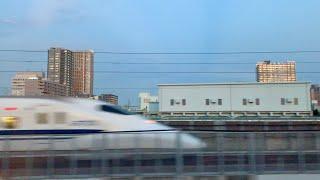 東海道新幹線 上りのぞみ号 品川→東京 夕暮れ右側車窓