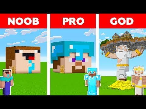Minecraft Battle: NOOB vs PRO vs GOD: HEAD BLOCK HOUSE in MI