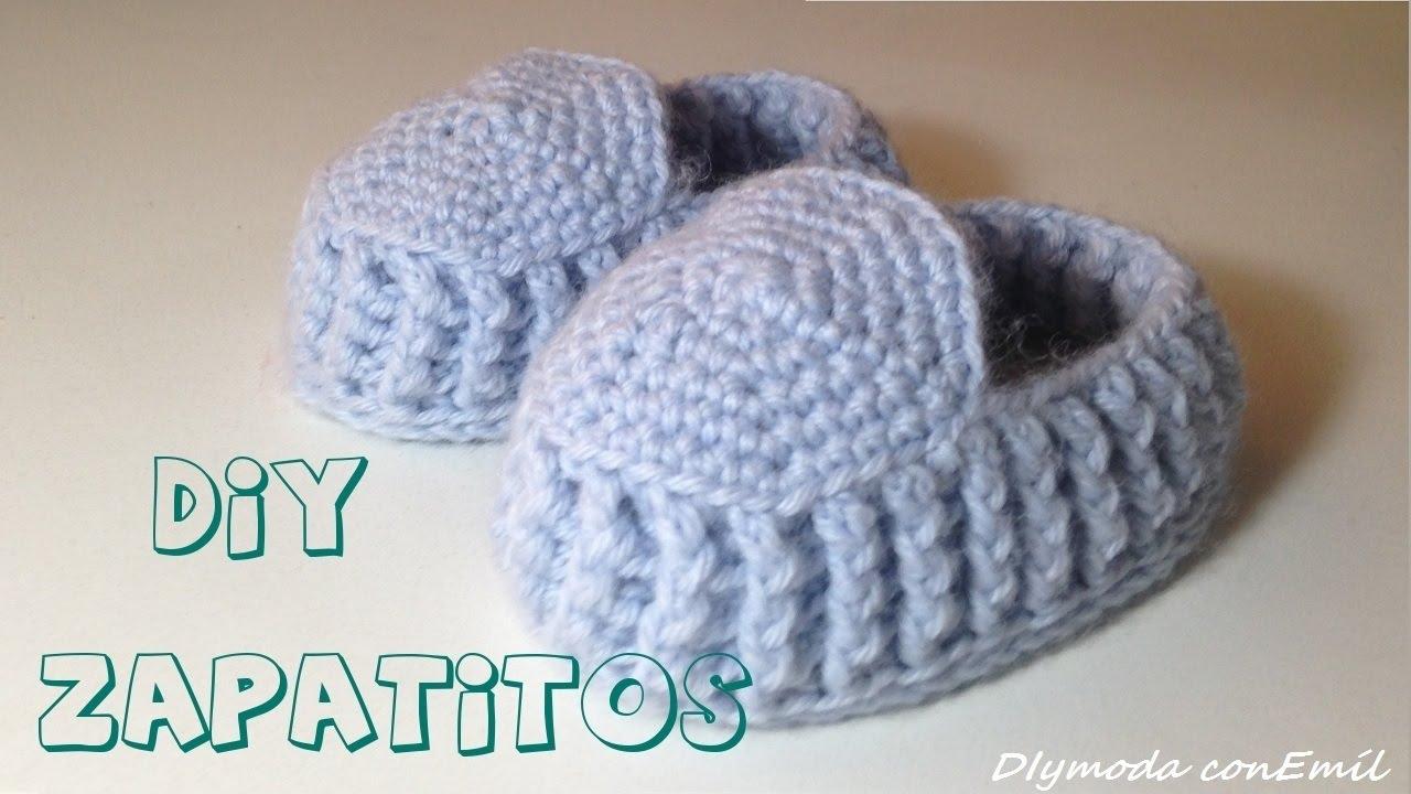 Cómo tejer zapatitos o patucos de lana para bebes en crochet - YouTube