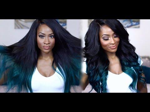BLACK & TEAL OMBRE HAIR TUTORIAL| KYLIE JENNER INSPIRED