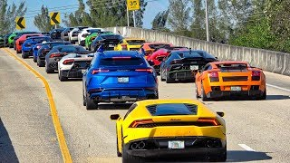 Lamborghini Aventador SVJ Bugatti Pagani Ferrari 200 + Supercars Fly by - Exotic Car Toy Rally 2019