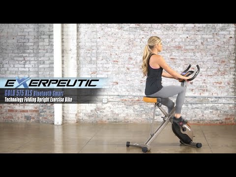 4103 - Exerpeutic GOLD 575 XLS Bluetooth Smart Technology Folding Upright Exercise Bike (New App)